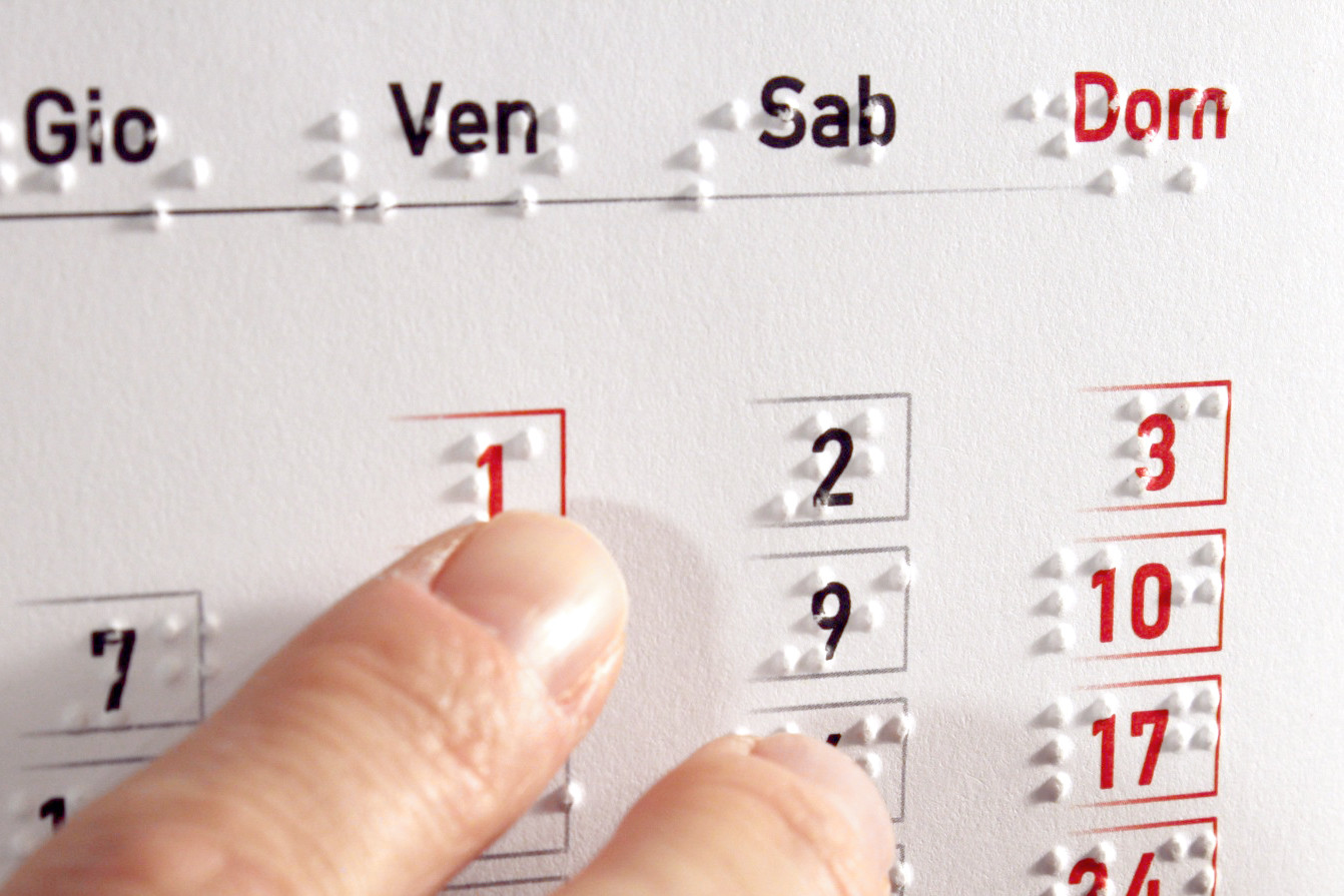 Calendario Braille da tavolo