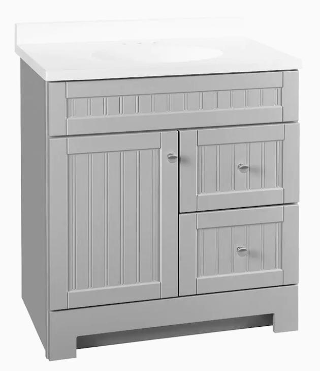 Ellenbee 30.5-in Gray Single Sink Bathroom Vanity with White Cultured Marble Top