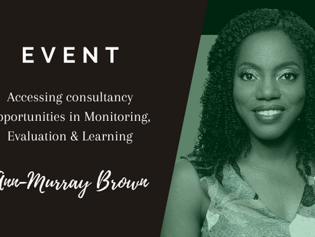 EVENT (31 March '21): Accessing consultancy opportunities in Monitoring, Evaluation & Learning