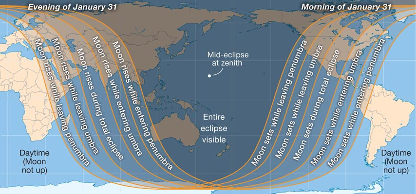 Lunar Eclipse January 31 2018 - Viewing Map