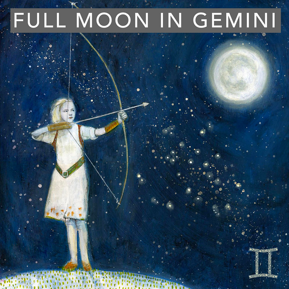 Full Moon in Gemini 2019 - Energetic Principles - Art by Tricia Scott