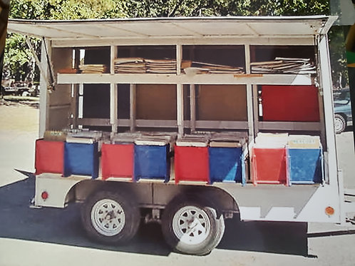 Custom Built Vendor Trailer with Automobile Magazine Ads