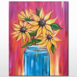 Glass Jar Sunflowers