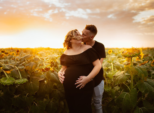 Reece & Brandon, Sunflower Field Maternity Session