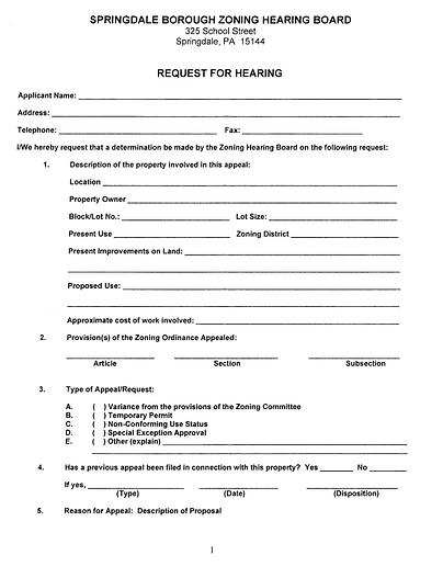 Zoning Hearing Board Request for Hearing