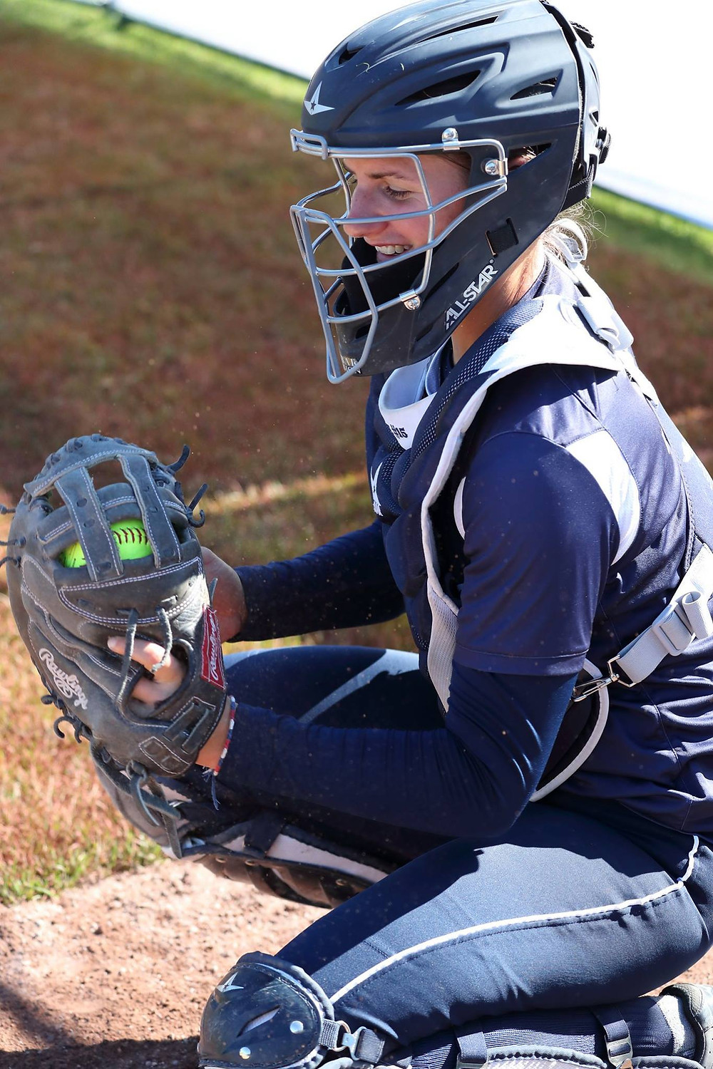 French national team catcher Camille Riera playing with her home club the Toulon Comanches