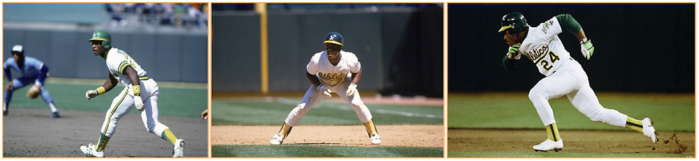 Rickey Henderson stole 1,406 bases over his 24-years in the MLB. Photos Courtesy of MLB Properties