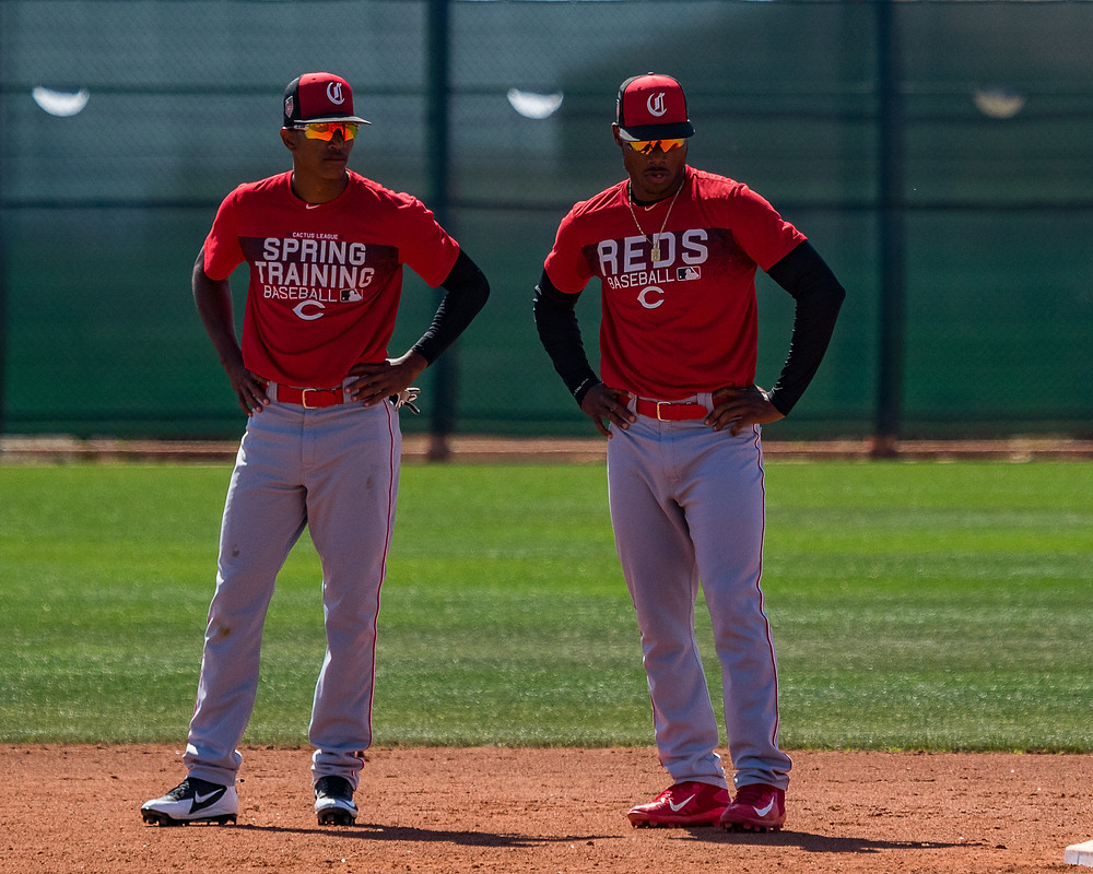 Urwin Juaquin and Jonathan Willems, both from Willemstad, await their 2018 assignments together at Reds training camp in AZL PC: Praka Photography