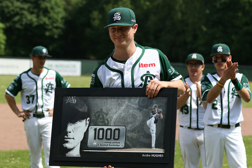 Andre Hughes throws his 1000th inning of Bundesliga baseball PC: Thomas Schnoenenborn