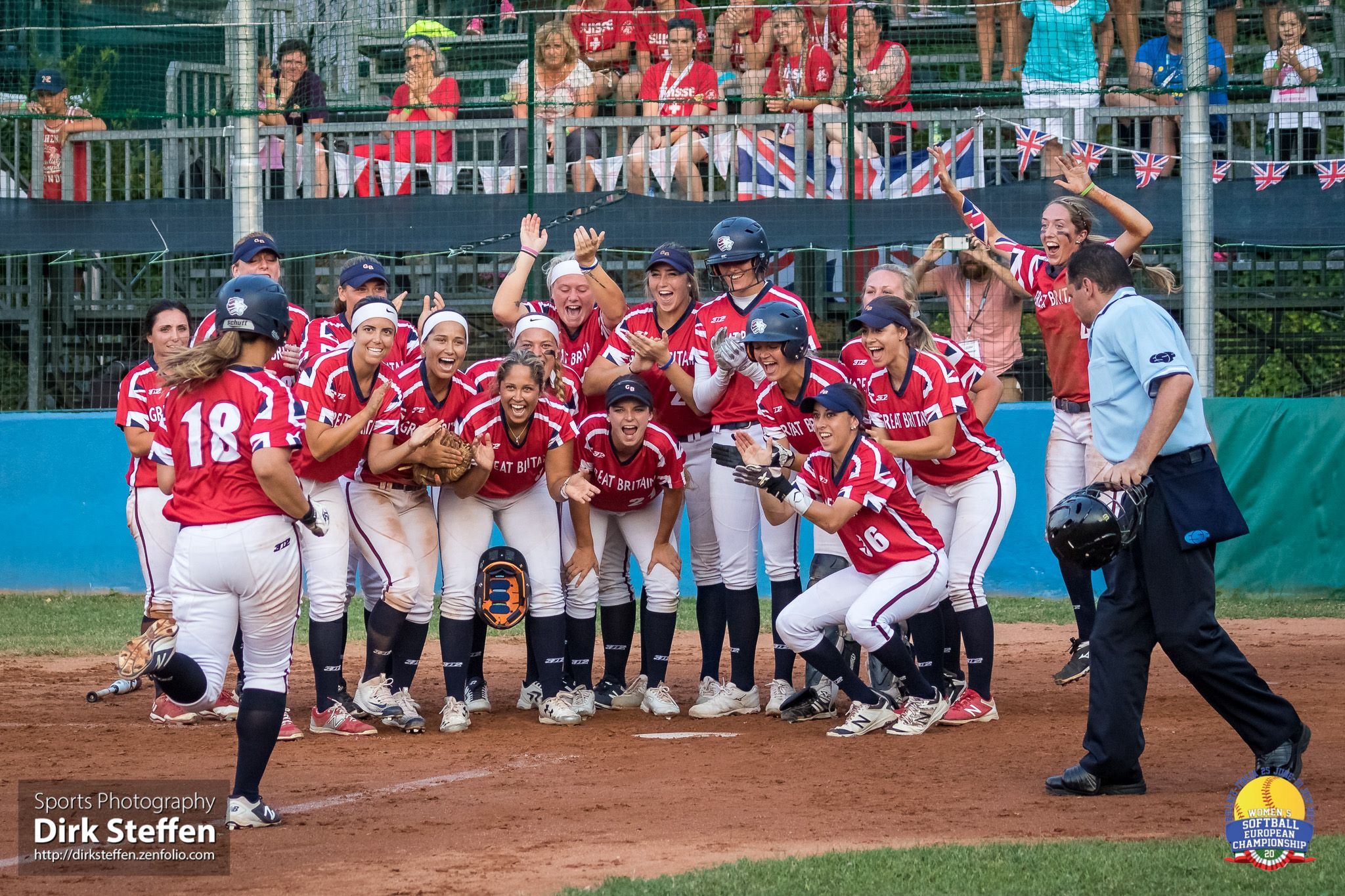 Great Britain celebrates at the plate.