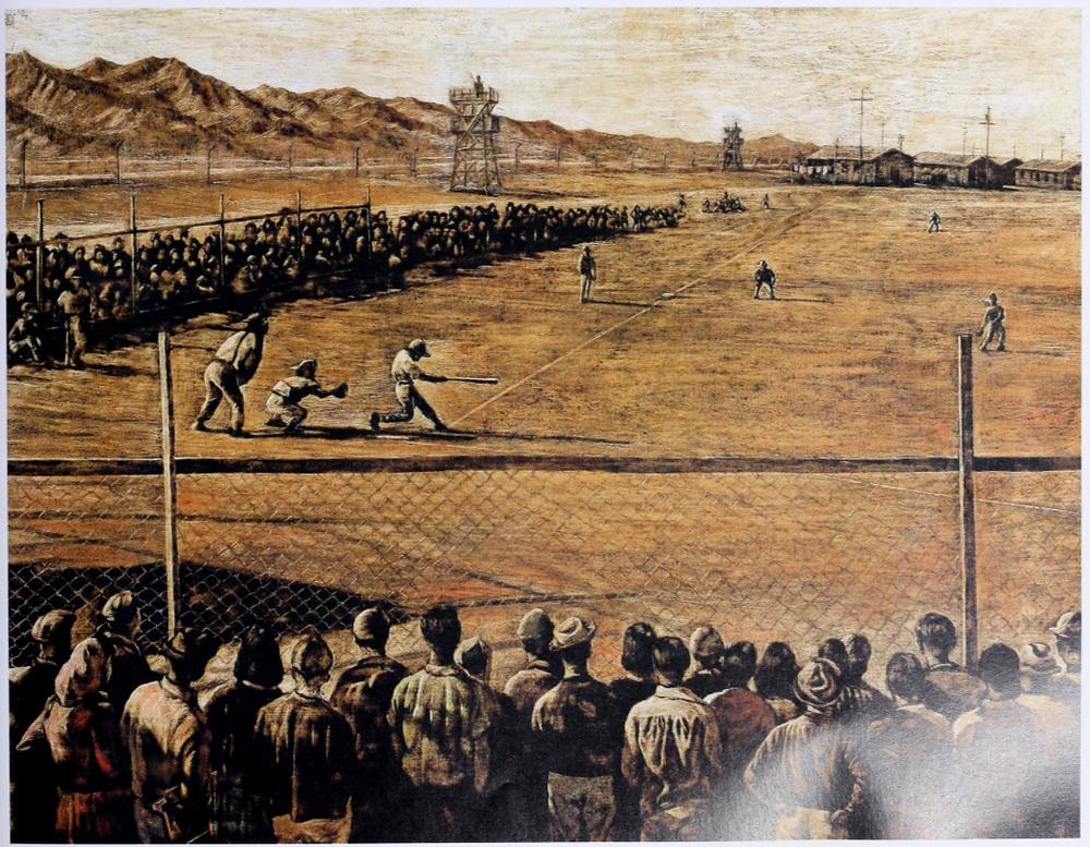 Baseball Saved Us Book Illustration by Dom Lee recreated from an Ansel Adams photo taken in 1943