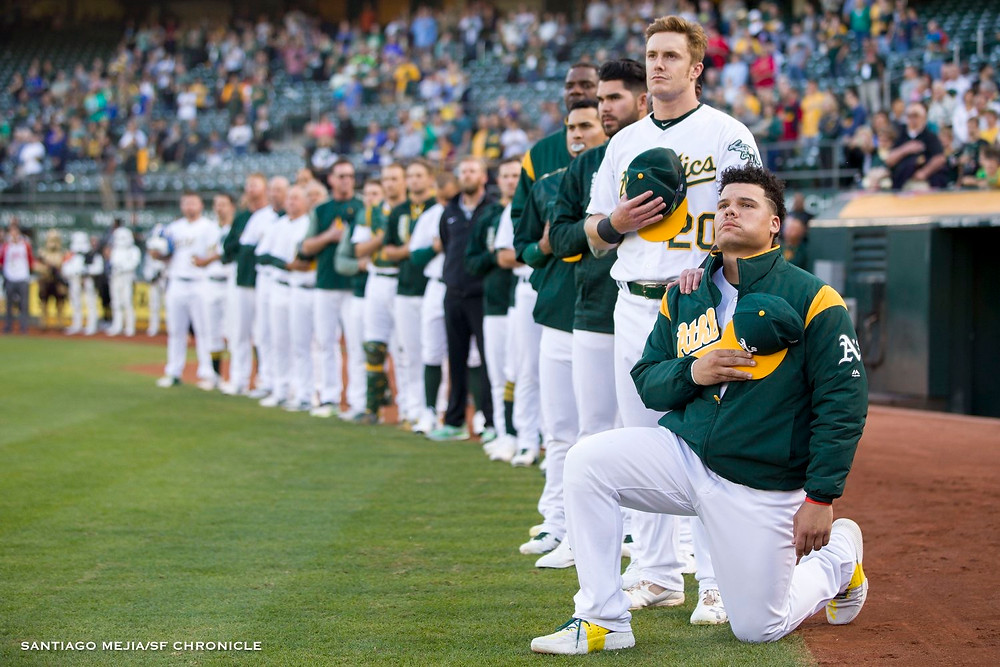 Bruce Maxwell takes a knee during anthem PC: Santiago Mejia San Francisco Chronicle