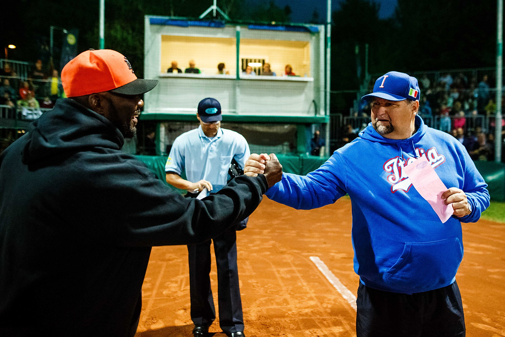 Netherlands and Italian national team softball coaches Photo Provided Courtesy of ESF PC: Grega Valancic