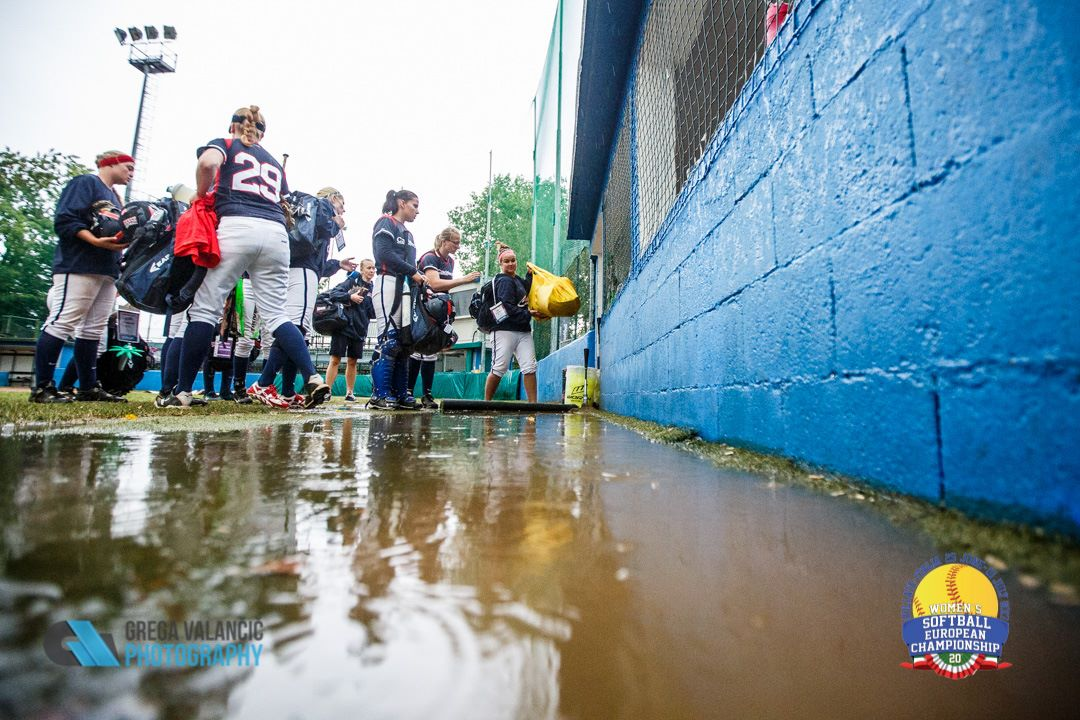 Czech Republic is cut off from the dugout by Mother Nature.