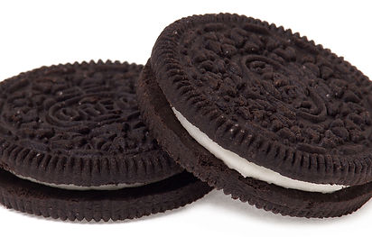 Two Oreo biscuits close up