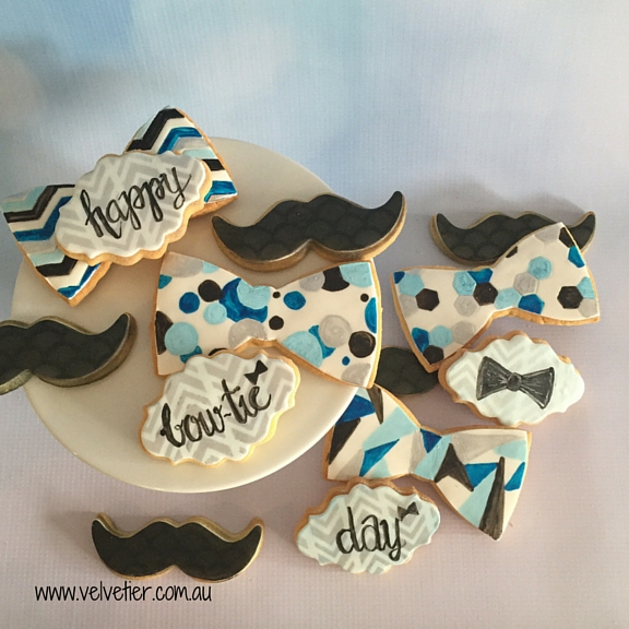 Bow tie day cookies Bow ties and mustaches Velvetier custom cookies Brisbane