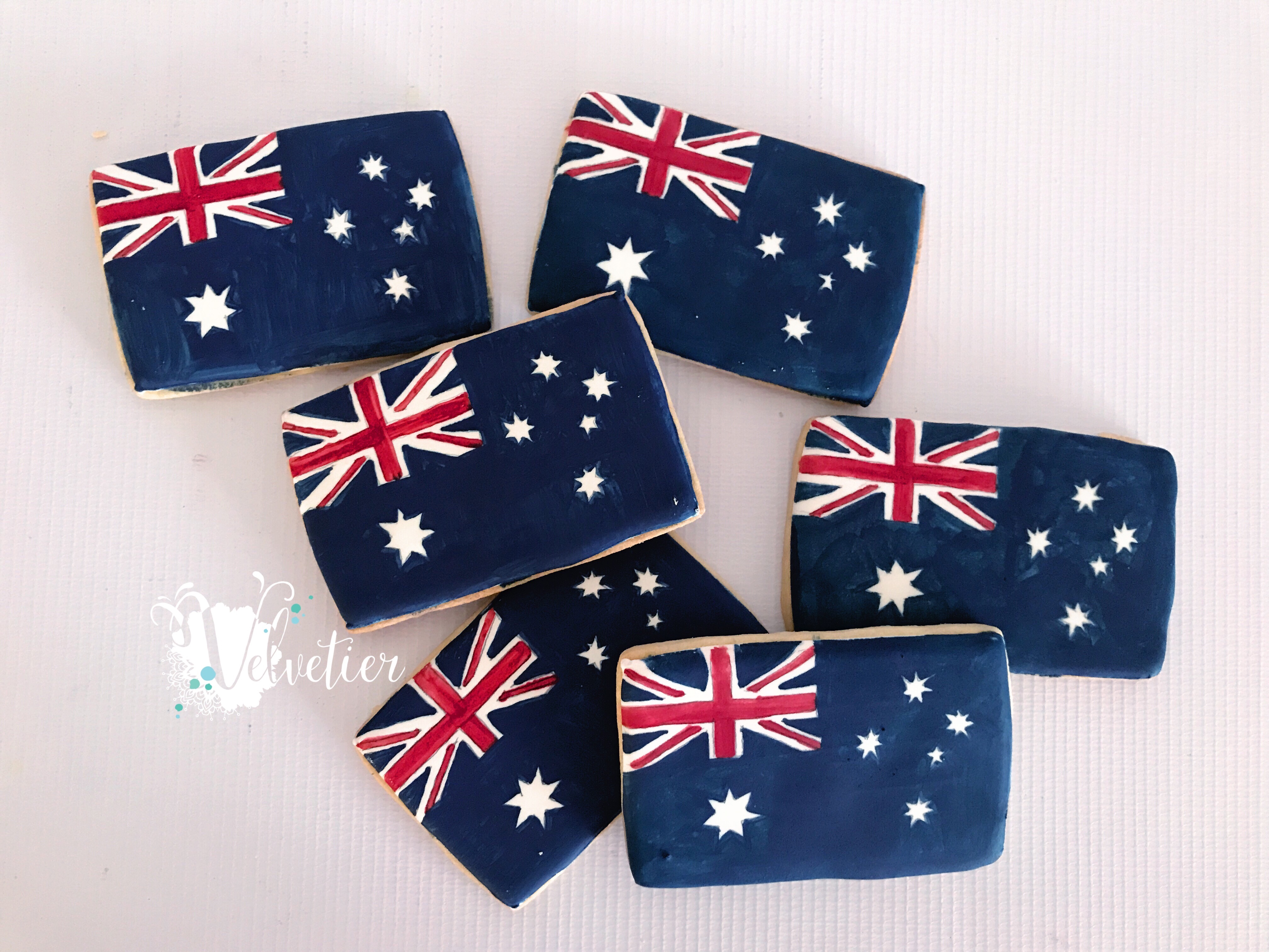 Aussie flag cookies by velvetier brisbane