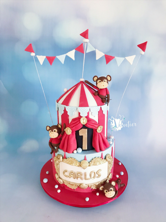 Circus theme 2 tier birthday cake with monkey figures by velvetier brisbane