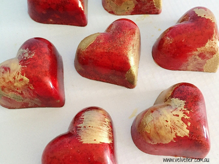 Red and gold heart chocolates Velvetier custom chocolates Brisbane