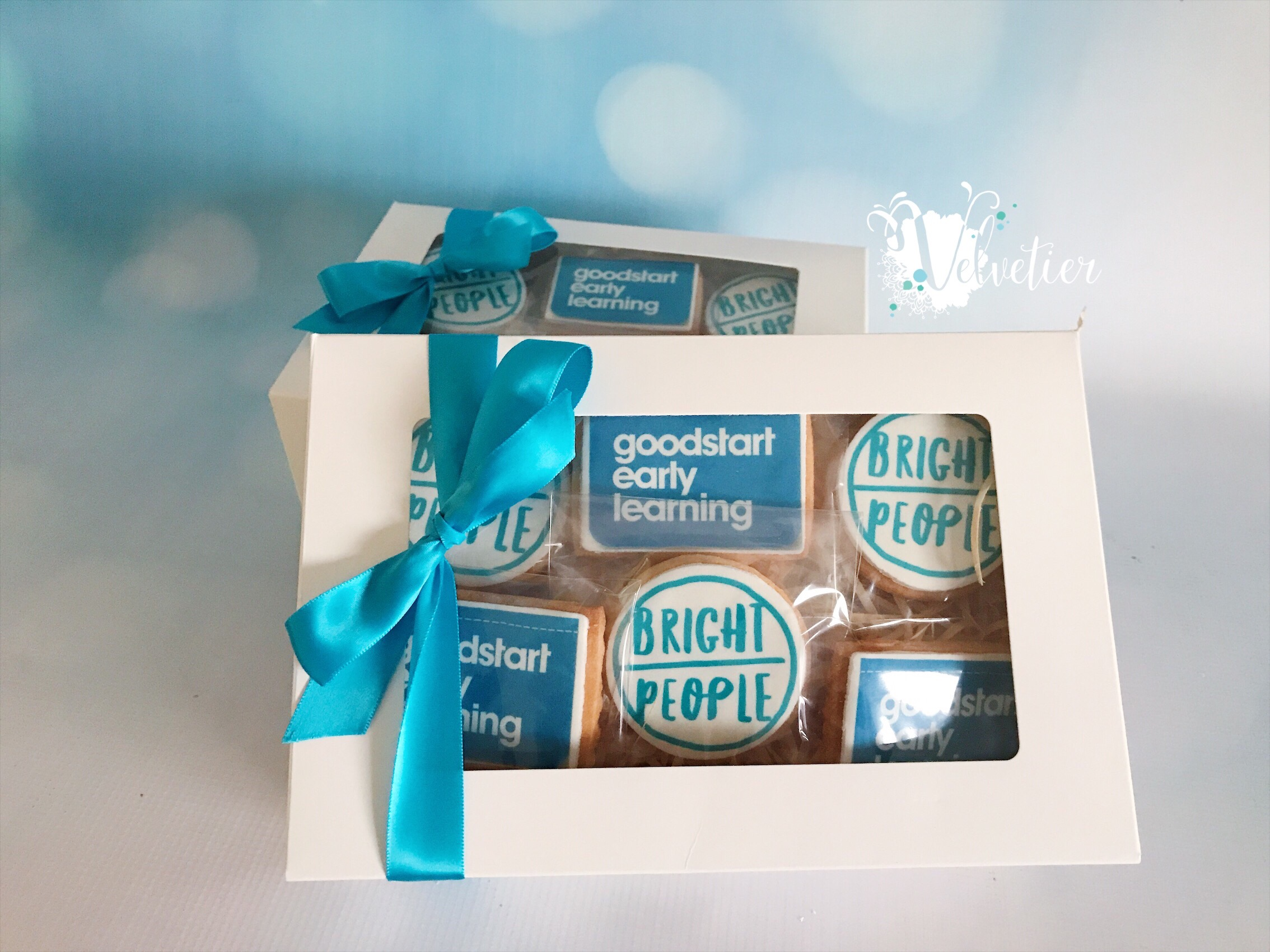 Gift boxed logo cookies corporate gift by velvetier brisbane