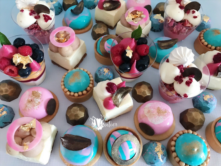 Pink teal and gold desserts by Velvetier Brisbane