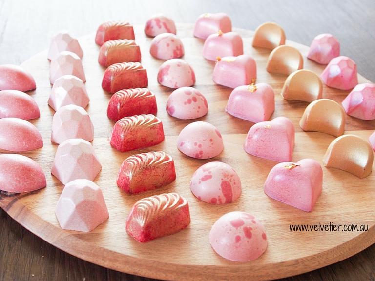 LOVE range chocolates shades of pink red and gold Velvetier custom chocolates Brisbane