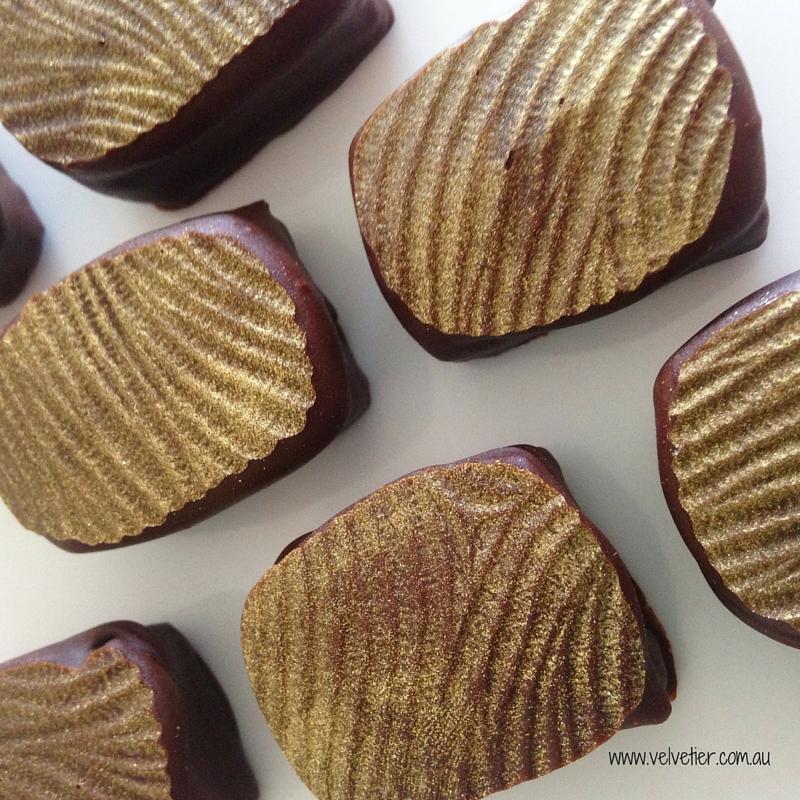 Gold swirl hand dipped praline Velvetier custom chocolate Brisbane