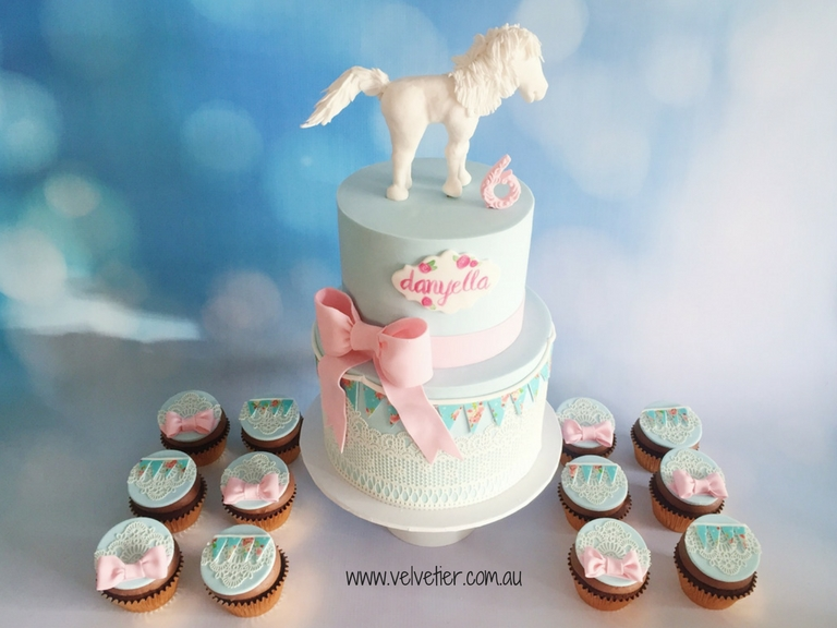 Pink and blue shabby chic horse cake by Velvetier Brisbane cake designer