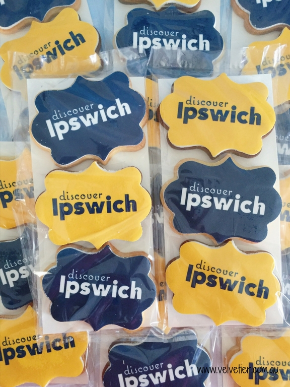 Discover Ipswich logo cookies by Velvetier Brisbane Corporate branded cookie