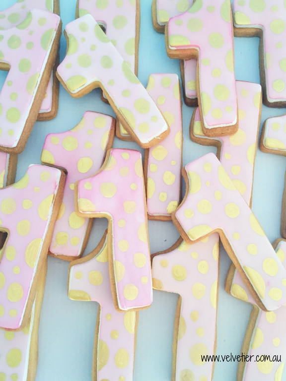 Watercolour Pink And Gold Number 1 Cookies By Velvetier Brisbane Cookie Biscuit