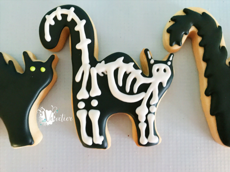 cat skeleton halloween cookie by velvetier brisbane