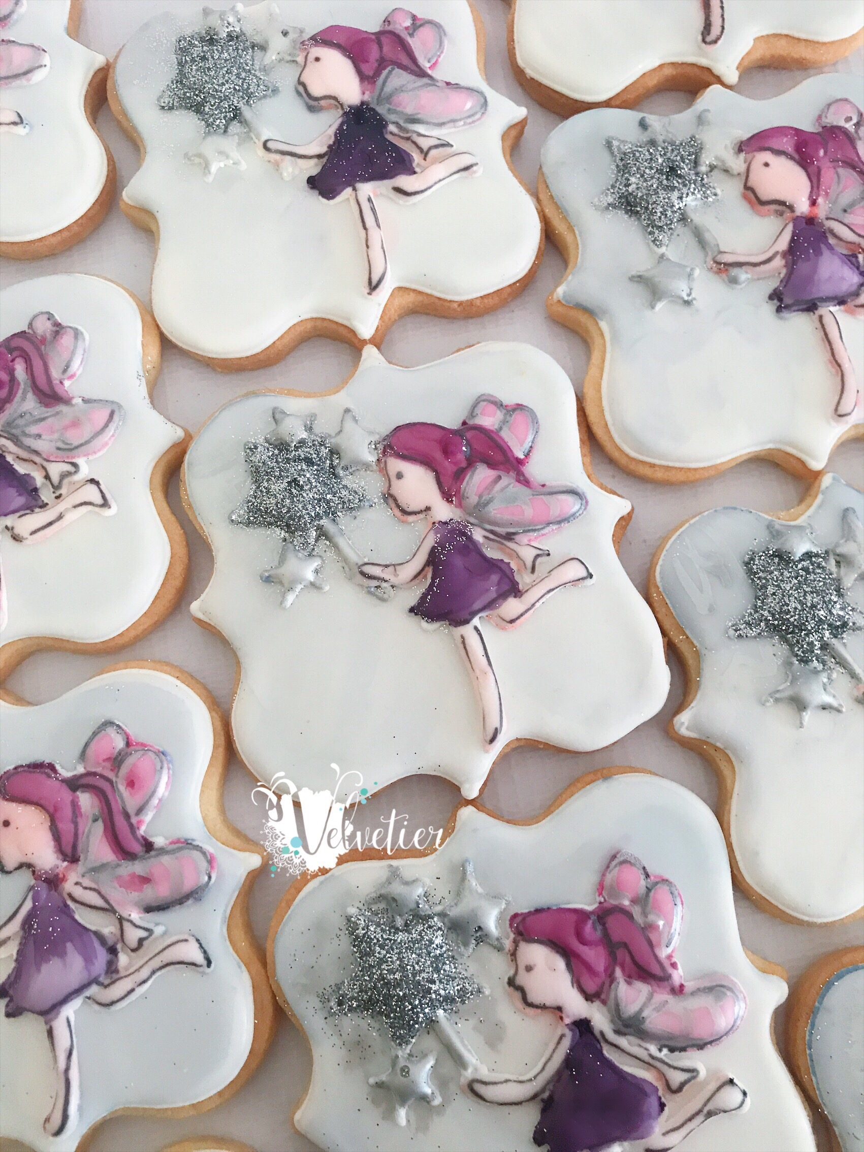 pink and purple sparkle fairy cookies by velvetier brisbane