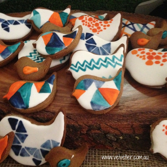 Hand painted bird cookies Velvetier custom cookies Brisbane