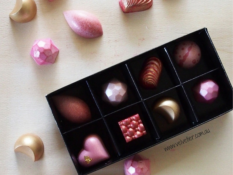 Shades of pink and gold LOVE range custom chocolates Brisbane Velvetier