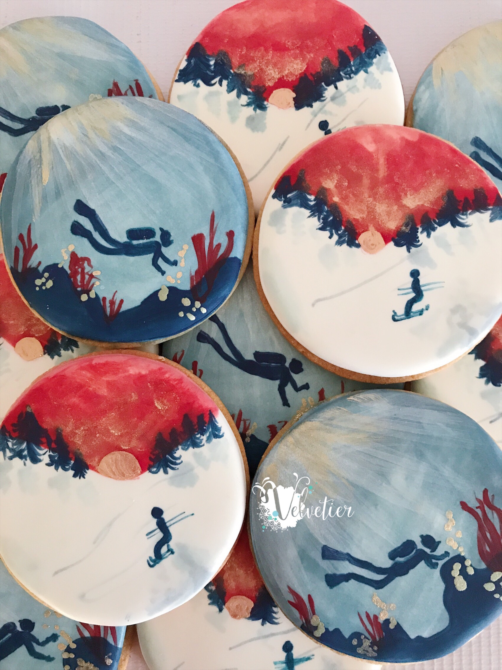 handpainted scuba and skiing cookies by veletier brisbane