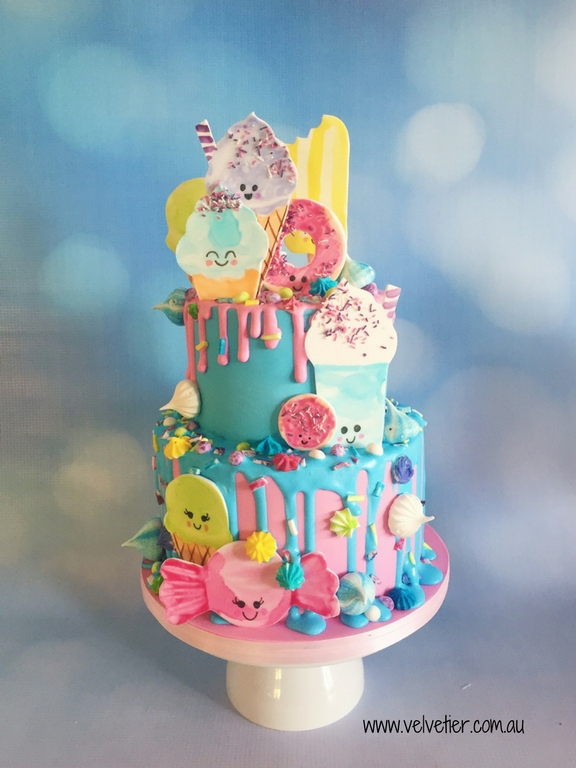 Kawaii dessert pink and aqua tiered cake by Velvetier Brisbane cake designer
