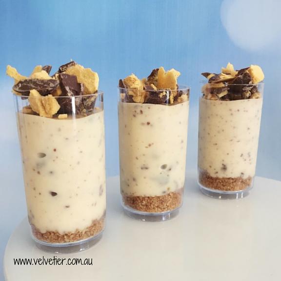 Honeycomb cheesecake verrine by Velvetier Brisbane desserts