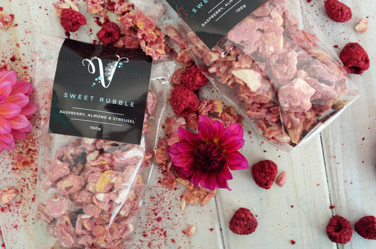 Raspberry almond and streusel sweet rubble by Velvetier Brisbane