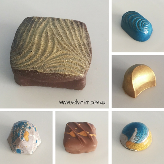 Blue yellow and gold Velvetier custom chocolates Brisbane