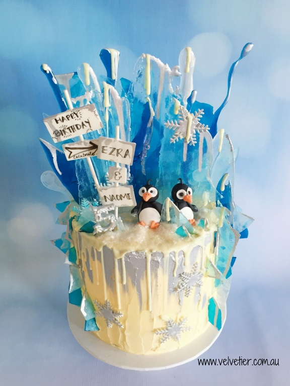 Winter Wonderland Birthday Cake With Penguins By Velvetier Brisbane Cake