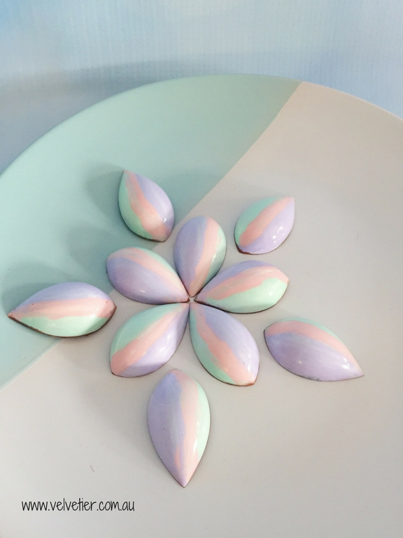 Pastel Purple Pink And Green Drop Chocolates By Velvetier Brisbane Custom Chocolates