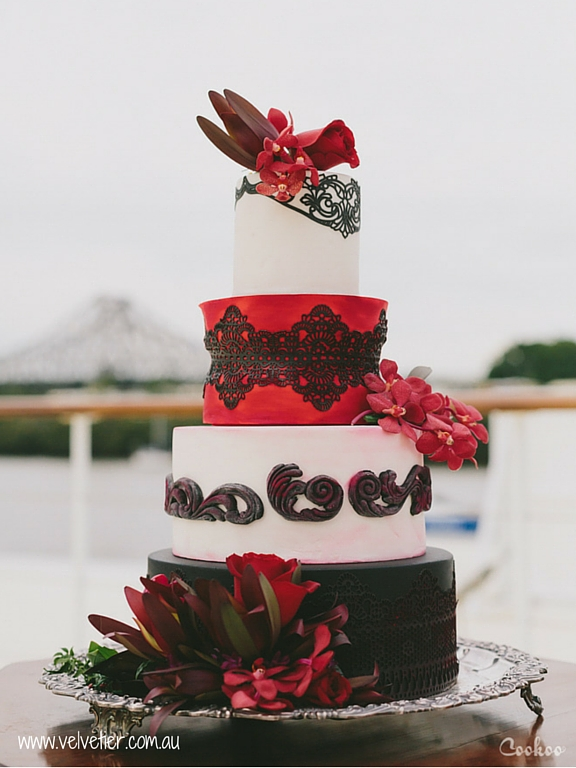 Black and red wedding cake black filagree Velvetier Brisbane