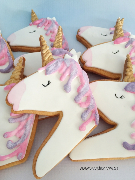 Unicorn head cookie in Pink and purple by velvetier Brisbane Cookies