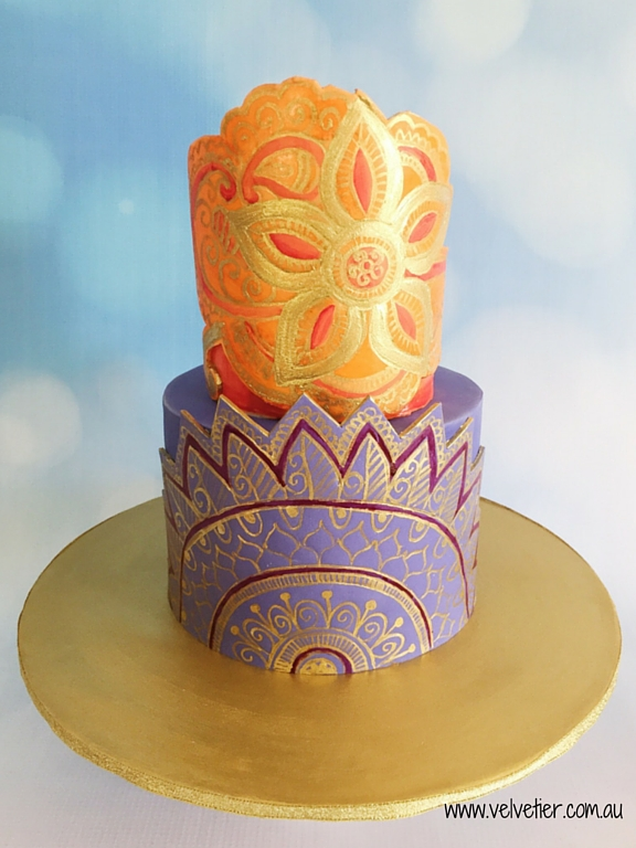 Bollywood inspired cake handpainted henna in gold Velvetier Brisbane