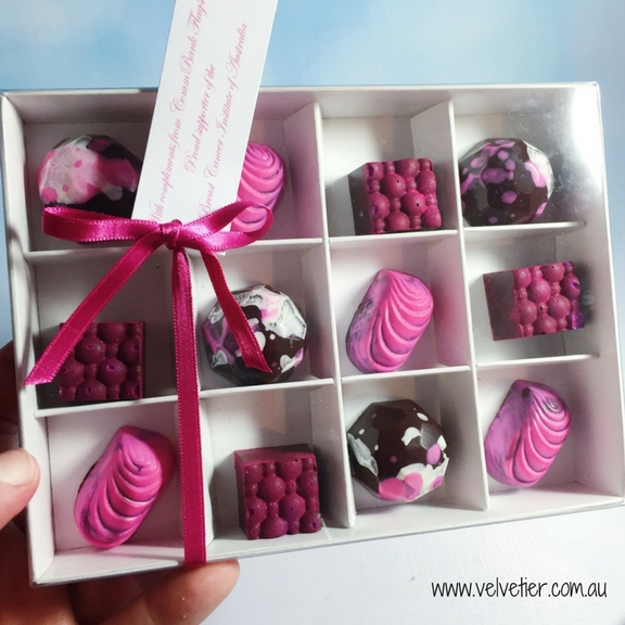 Shades Of Pink Box Of 12 Chocoaltes By Velvetier Brisbane Chocolatier