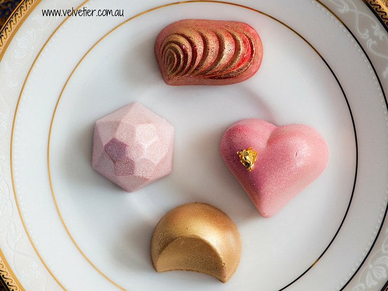 Pink Red And Gold Selection Of Chocolates By Velvetier Brisbane Custom Chocolates