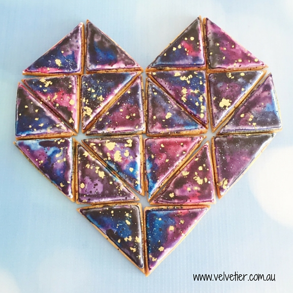 Galaxy heart cookies Velvetier custom cookies Brisbane