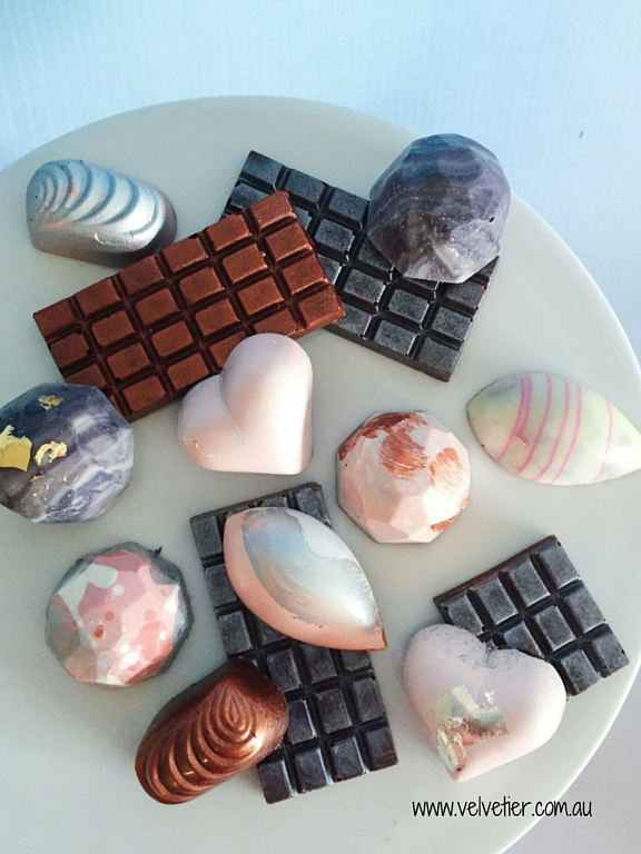 Pink white silver and copper chocolate collection by velvetier Brisbane chocolate