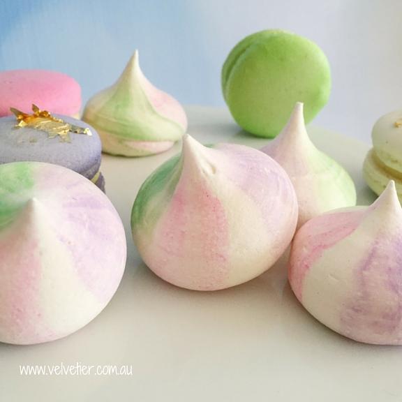 Pink purple and green meringues by Velvetier Brisbane