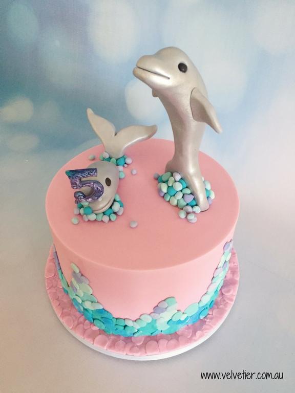 Pink Dolphin cake by Velvetier Brisbane Cake